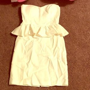 White half peplum dress